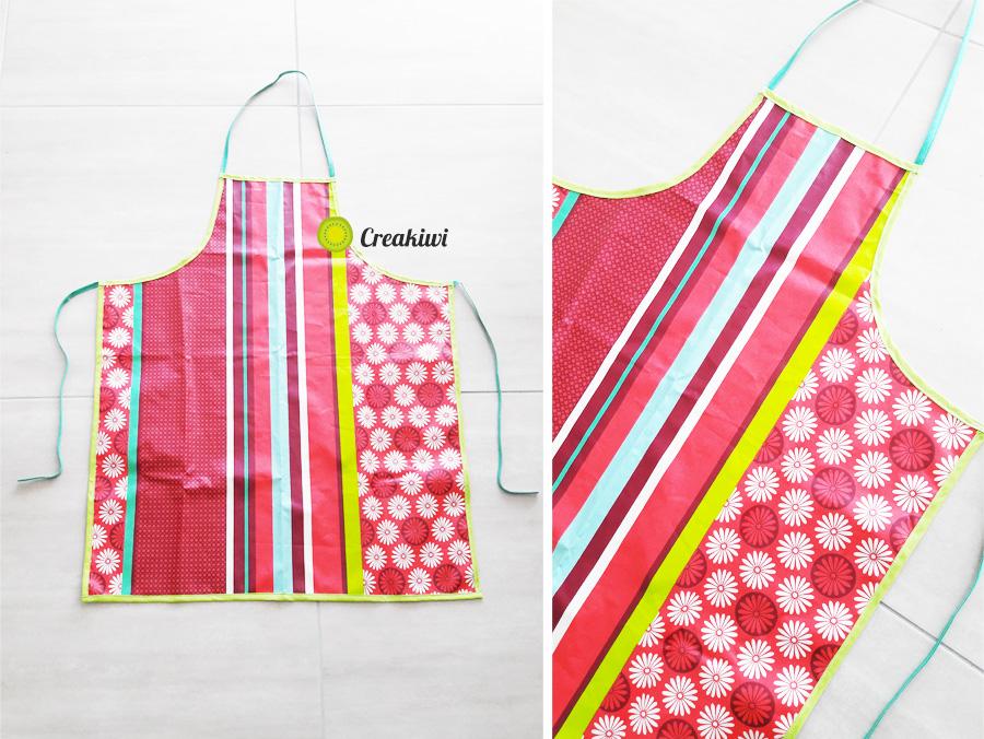 Création d'un tablier de cuisine en toile enduite Creakiwi