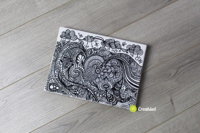 Tableau décoratif Doodle Noir & blanc