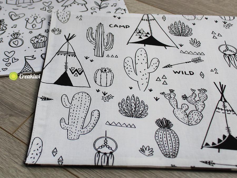 Set de table à colorier pour enfants motif tipi et cactus