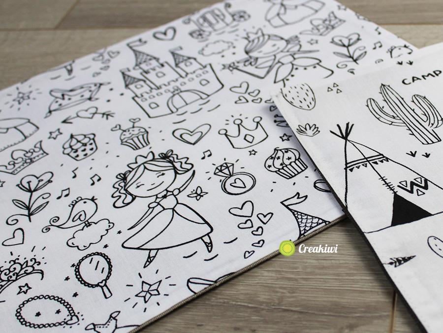 Set de table à colorier pour enfants motif princesse et chateau
