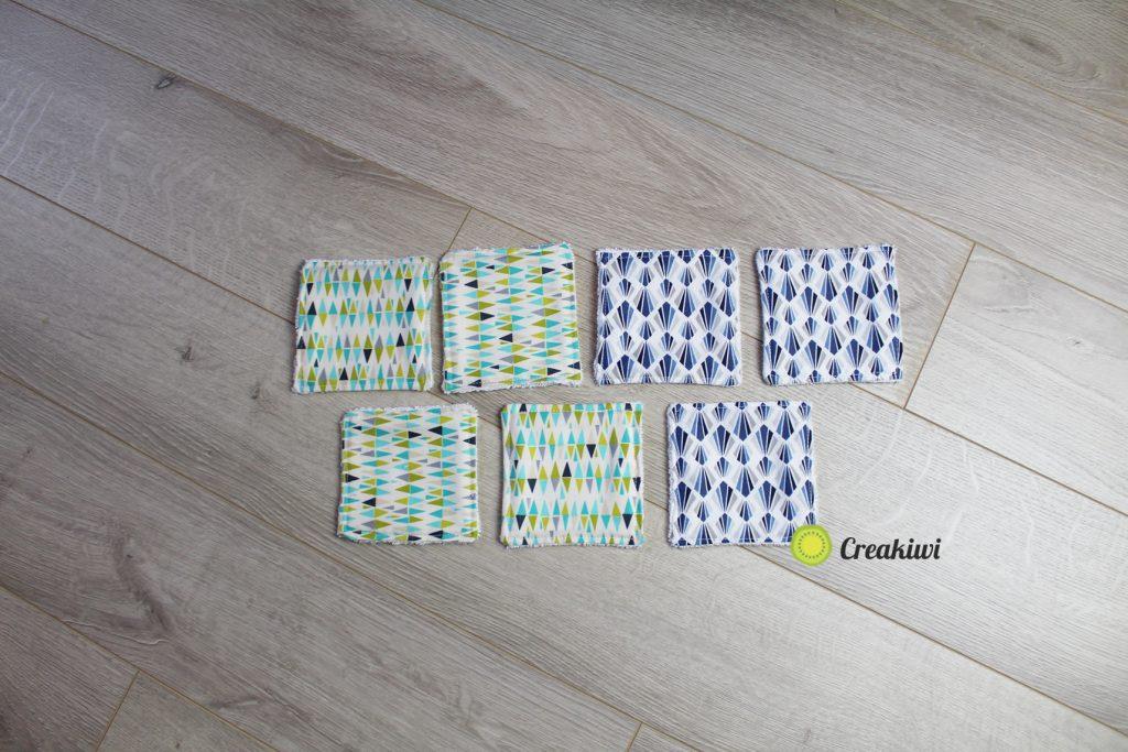 Lot de 7 lingettes démaquillantes bleu-vert en fibre de bambou BIO