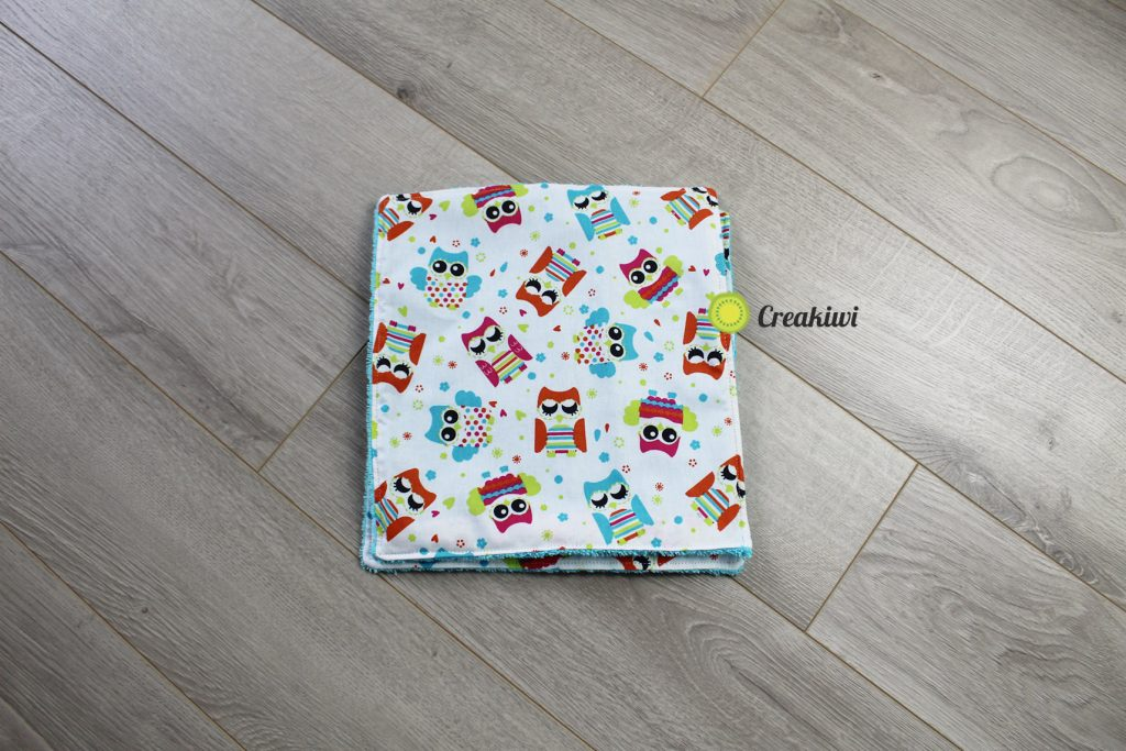 Lot de 2 essuie-touts lavables et réutilisables motif chouettes éponge grise