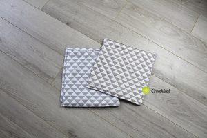 Lot de 3 essuie-touts lavables et réutilisables motif triangles géométriques gris et marron