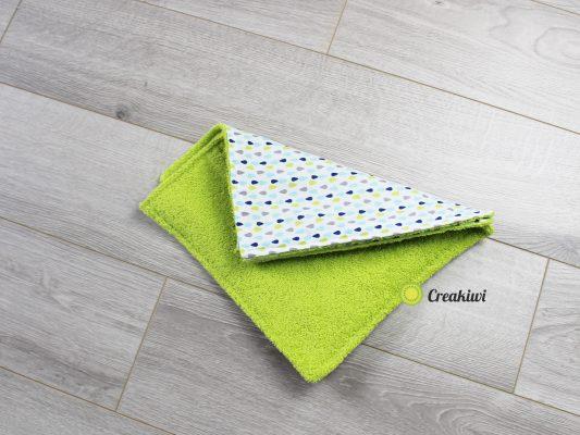 Lot de 3 essuie-touts lavables et réutilisables motif gouttes éponge verte