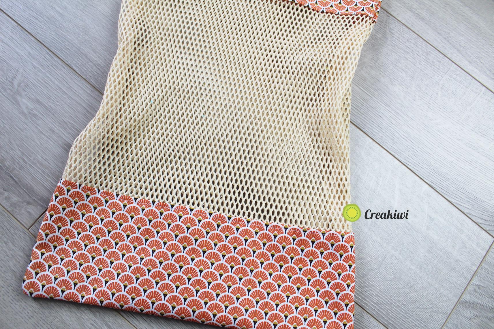 Sac à vrac orange avec filet en coton bio