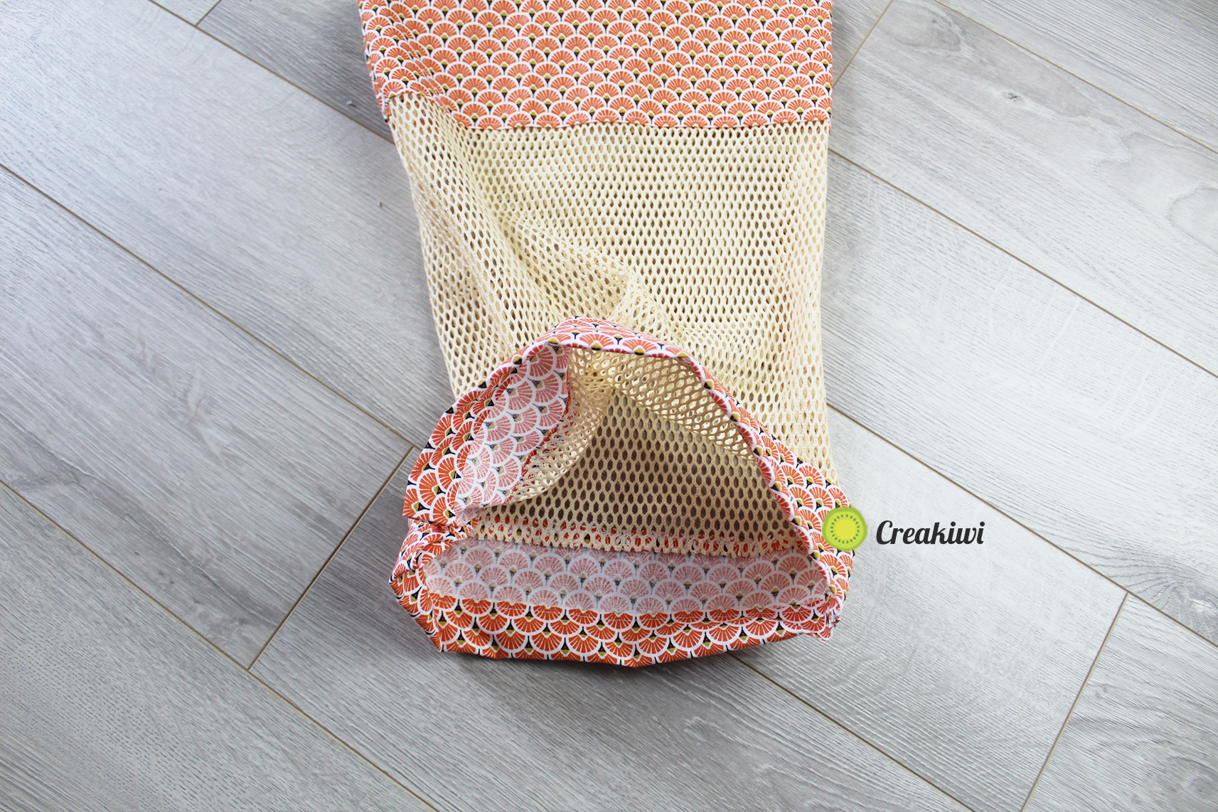 Sac à vrac orange avec filet en coton bio
