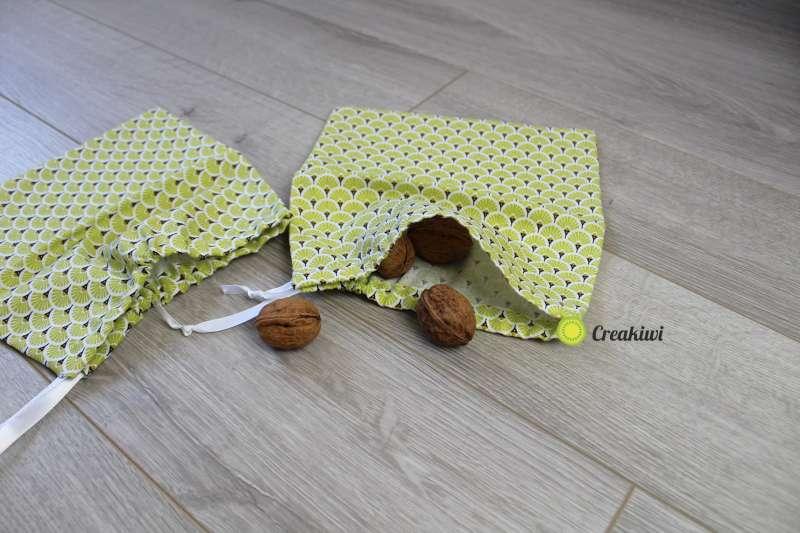 Lot de 2 petits sacs à vrac refermables en vert