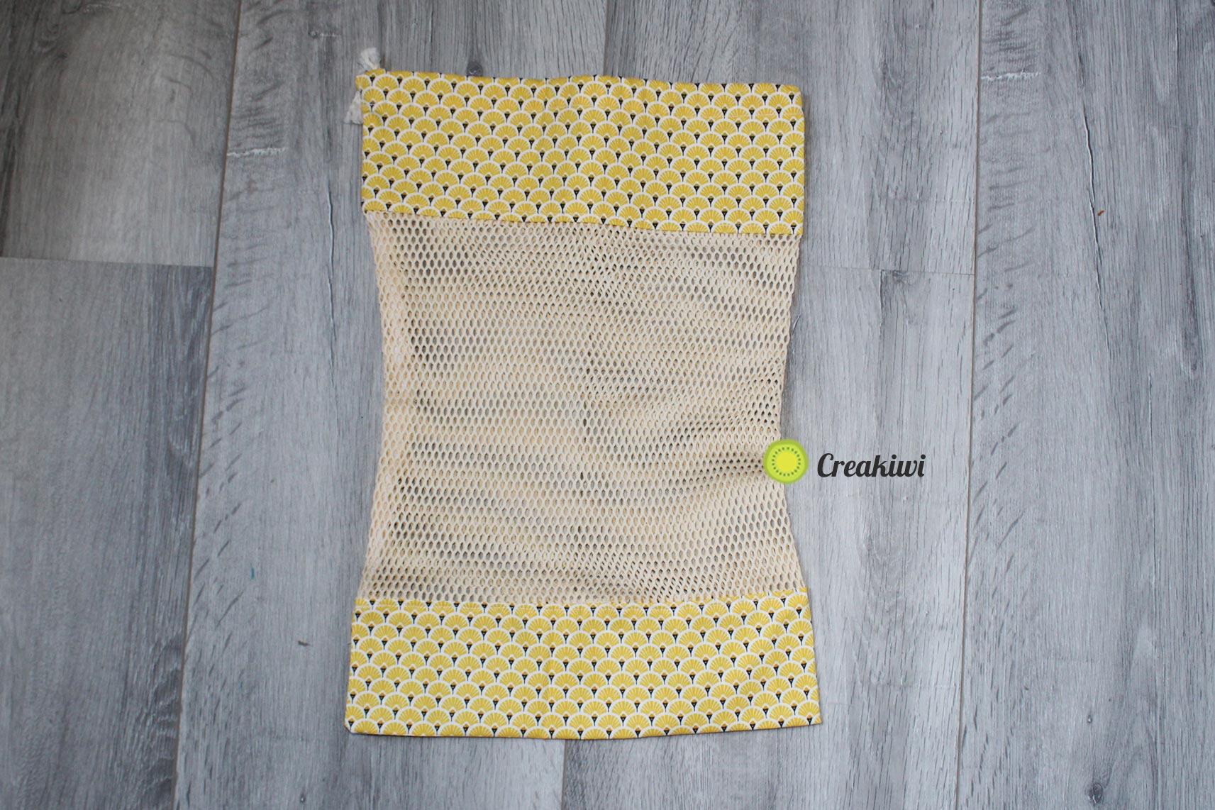 Sac à vrac jaune en filet bio Creakiwi produti zéro déchet