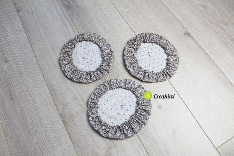 Lot de 3 couvercles écologiques diamètre 15cm motif marron