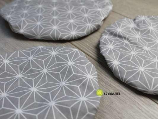 Lot de 3 couvercles écologiques diamètre 15cm motif gris