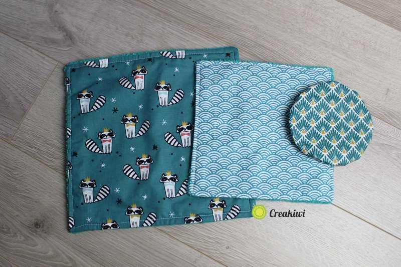 Pack Zéro déchet tout bleu : essuie-tout en éponge et charlotte pour tasse