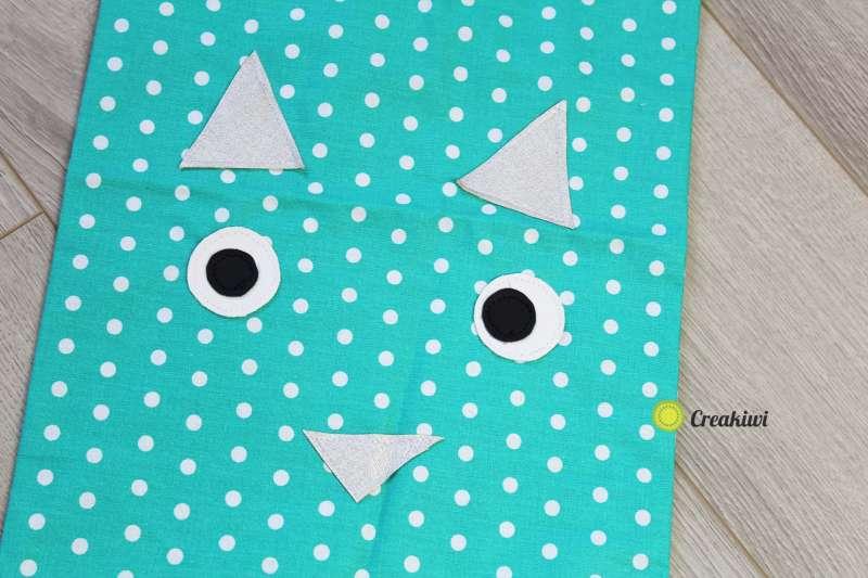 Pochon avec lien resserrable motif bleu chat