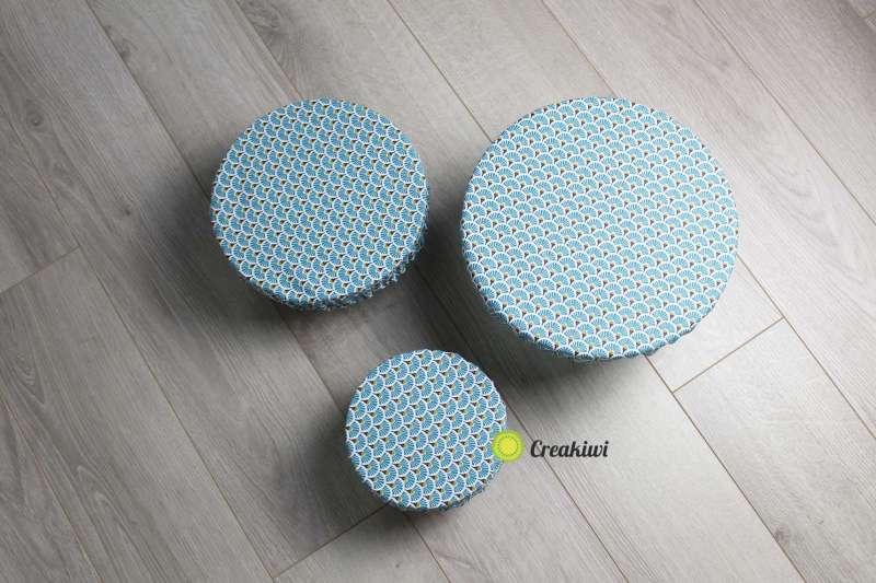 Lot de 3 couvercles écologiques différents formats motif bleu fleuri