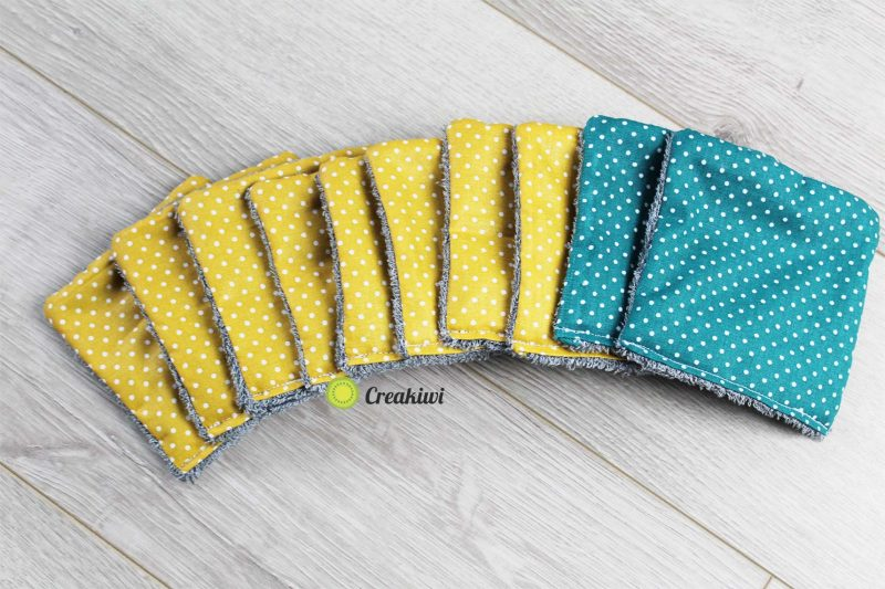 Lot de 10 lingettes démaquillantes jaune moutarde et bleu canard Creakiwi