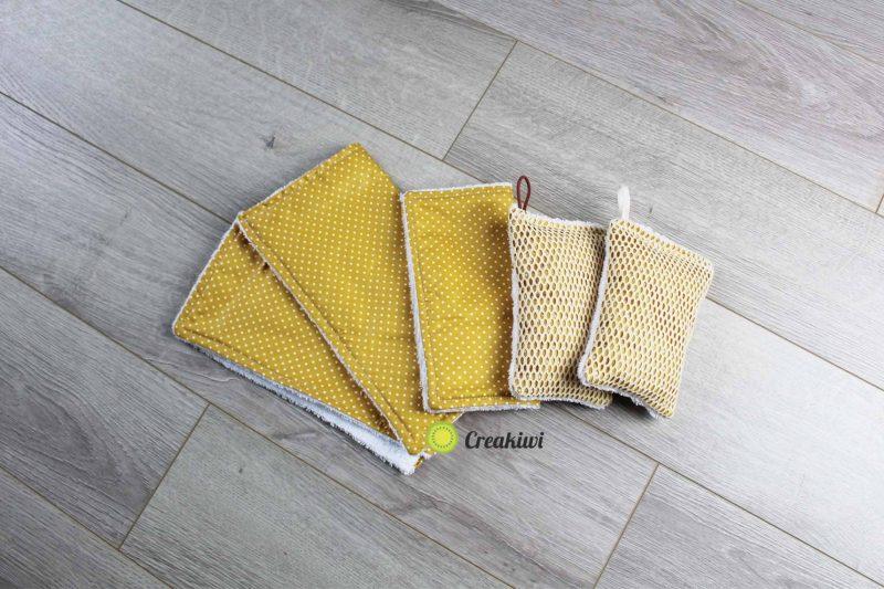 PACK tissu en éponge couleur moutarde Creakiwi