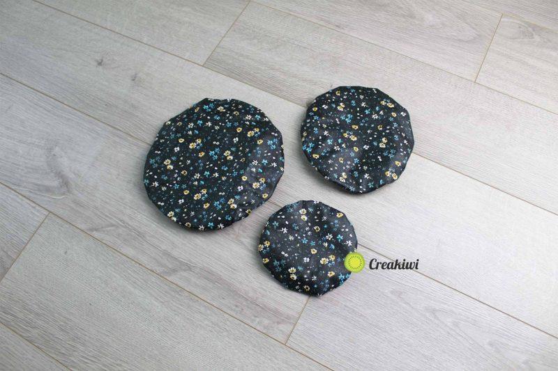 Lot de 3 couvercles écologiques différents formats motif noir fleuri Creakiwi