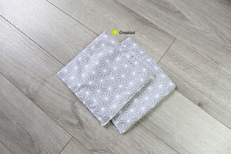 Lot de 2 petits essuie-touts gris géométriques